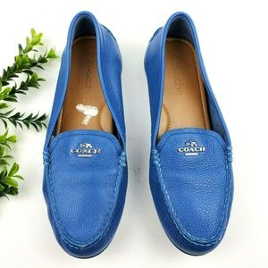 COACH Mary Lock Up Blue Leather Loafers  S17